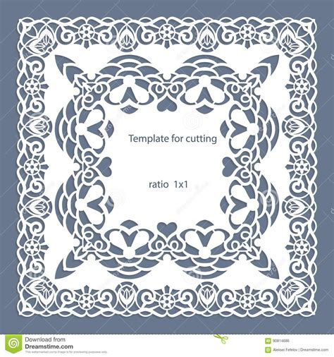 Minimal Wedding Anniversary Cards Templates Vector by Greeting Card With Openwork Border Paper Doily The