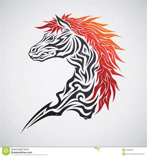 tribal horse head tattoo designs tribal stock vector image of elegance