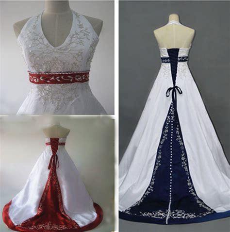 halter red  white embroidery bridal gowns wedding