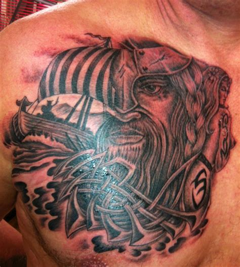 viking tattoo on chest viking long boat celtic warrior tattoo on chest