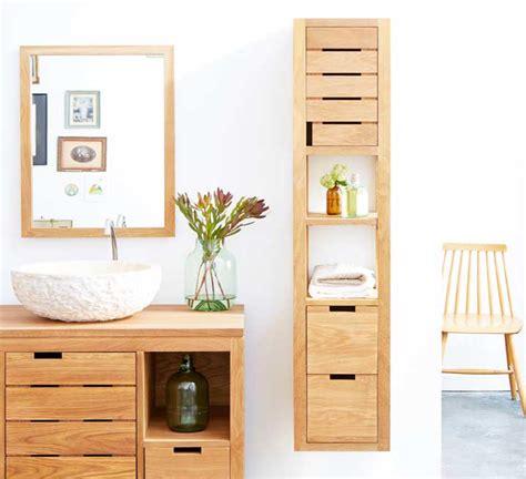 badezimmerschrank lagerung ideen holz badschrank mit zwei gro 223 en schubladen f 252 r