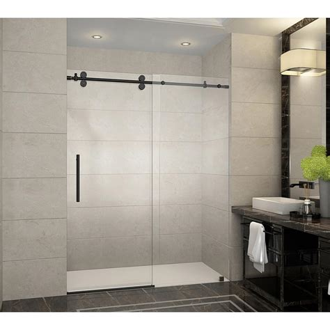 Sliding Shower Door Aston Langham 60 In X 75 In Frameless Sliding Shower Door In Rubbed Bronze With Handle