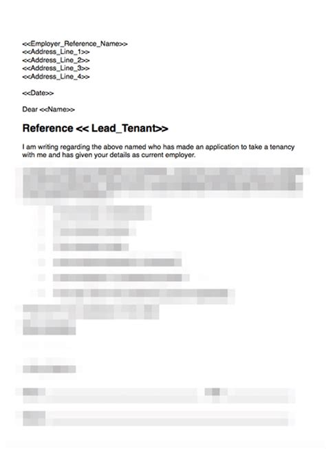 Tenant Reference Template Employer Employer Reference Request Grl Landlord Association