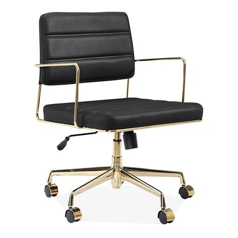 black and gold desk chair cult living grosvenor leather office chair black gold