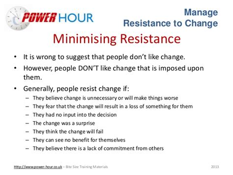 resistors to change manage resistance to change