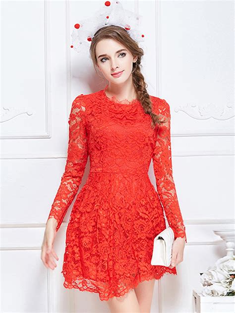 Heathani Lace Longsleeve Mini Dress sheer lace sleeve skater mini dress choies
