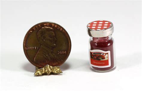dollhouse glass dollhouse miniature glass jar of strawberry jam