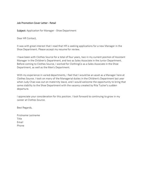 Promotion Cover Letter Cover Letter For Promotion My Document