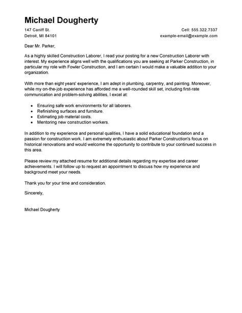 general laborer cover letter best construction labor cover letter exles livecareer