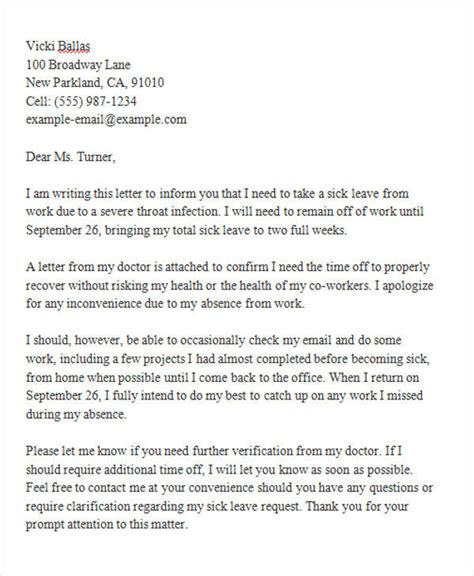 Letter Of Sick Leave From Work
