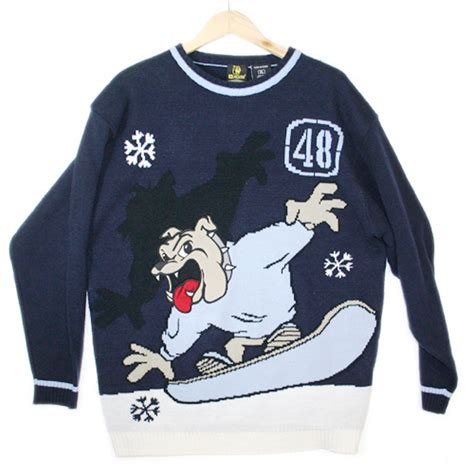 Nsweater Buldog bulldog on a snowboard tacky sweater the