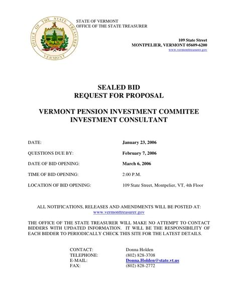 sealed bids letter template sealed bid request for vermont pension investment
