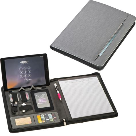 tablet samsung con porta usb cartella portadocumenti a4 con powerbanck cavo usb porta