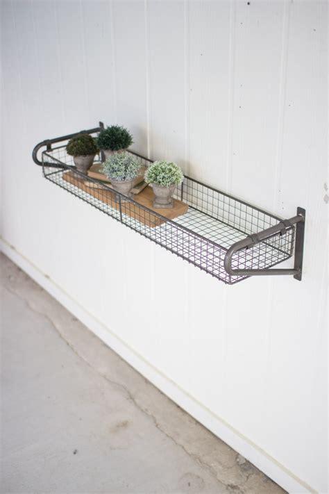 Wire Shelf Basket by Wire Basket Wall Shelf With Brackets