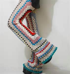 Crochet granny square pants flares bells rainbow 70s vintage knit wool