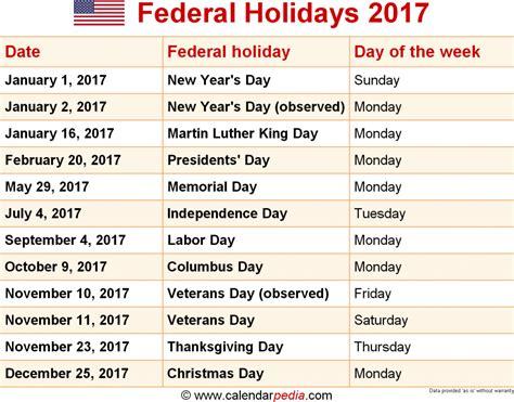 printable 2017 calendar with federal holidays usa holiday list 2017 printable calendar templates