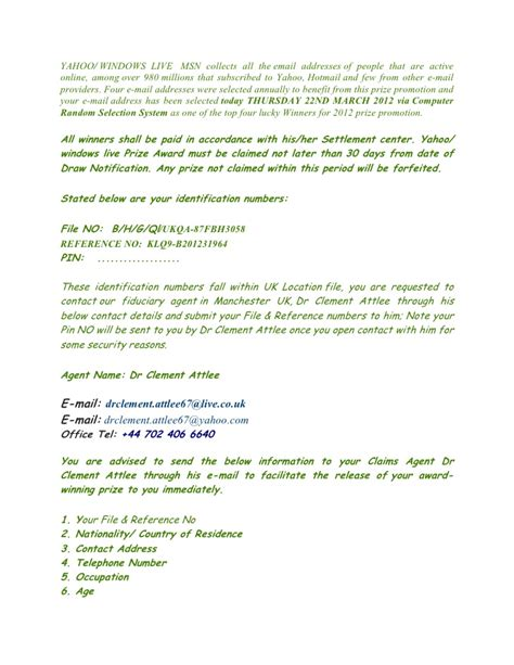 Award Notice Letter Yahoo Msn Award Notification Letter