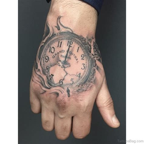 hand tattoo rose clock 47 excellent clock tattoos for hand