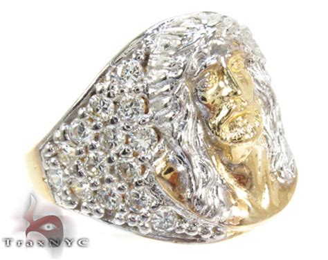 two tone 10k gold cz jesus ring 25244 mens gold ring two