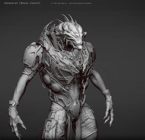 zbrush tutorial character artstation quot grenadier quot creature character tutorial