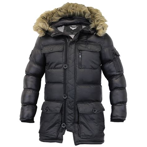 Mens Quilted Parka by Mens Parka Jacket Brave Soul Coat Padded Quilted Hooded