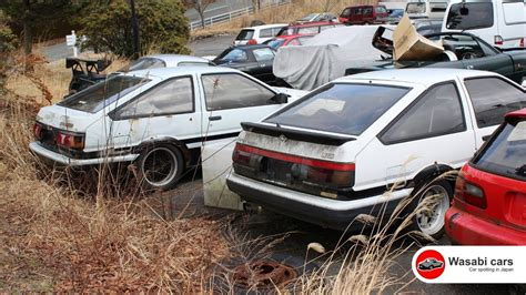 Toyota Salvage Yard Two Toyota Ae86 S Levin Trueno In A Junkyard