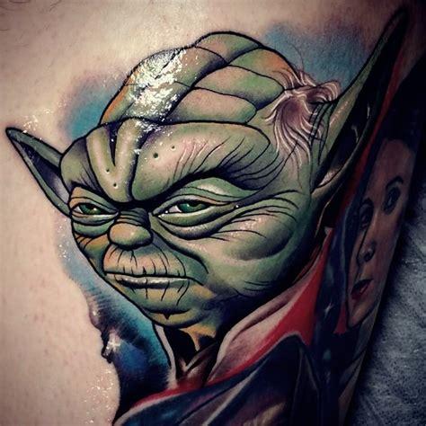 cartoon yoda tattoo amazing comic book style colored angry yoda portrait