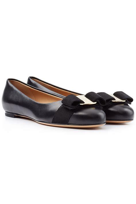 ferragamo shoes flats lyst ferragamo varina leather ballet flats black in black