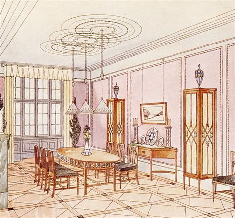 Sketch Of Dining Room by Design For A Dining Room Drawing By Paul Ludwig Troost