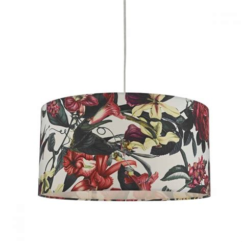 pink  white floral easy fit pendant shade