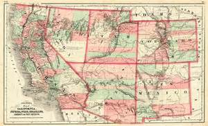 colton s map of california nevada utah colorado