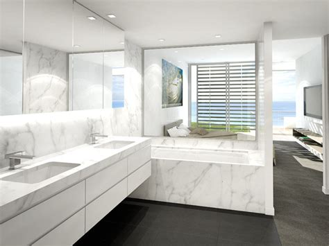 modern bathroom design with recessed bath using marble bathroom photo 123888