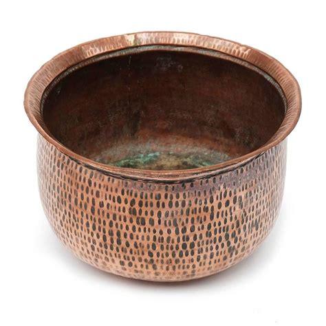 Copper Planters For Sale by 1950s Beaten Copper Plant Pot Bowl Planter For Sale