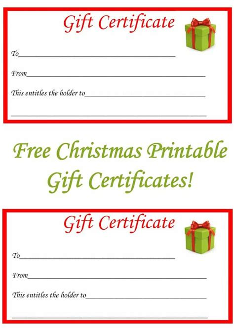 printable gift certificate images free christmas printable gift certificates the diary