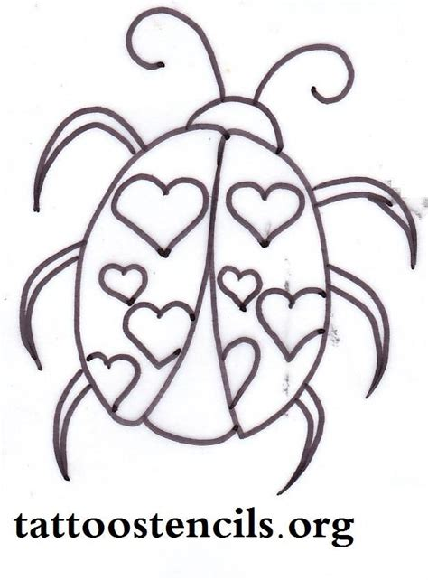 printable bug stencils free printable tattoo stencils lady bug with heart