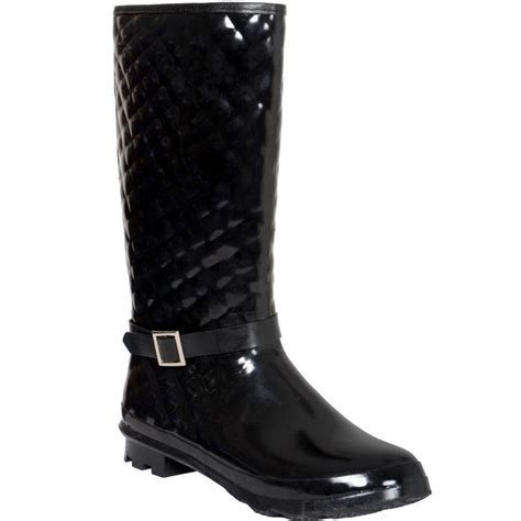 Quilted Wellington Boots by Black Quilted Lined Funky Festival Wellies