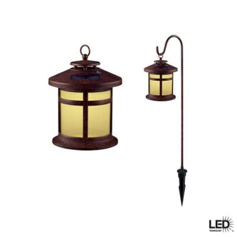 Hton Bay Reviere Rustic Bronze Outdoor Solar Led Light Solar Landscape Lights Home Depot