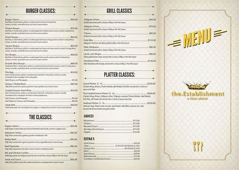 menu cuisine menu the establishment