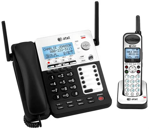 4 Phone System At T Sb67138 4 Line Corded Cordless Intercom Paging On Hold Phone System Ebay