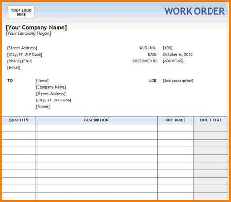 work order receipt template sle work order form sle construction work order