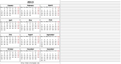 printable calendar notes 2013 calendar printable with notes calendar template 2016