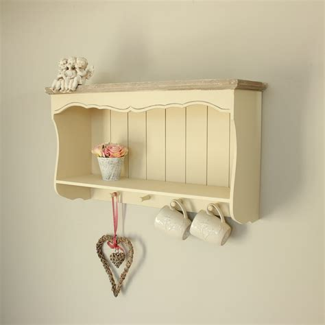 Cream wall shelf with pegs country ash range melody maison 174
