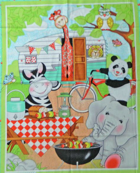 Childrens Patchwork Fabric - patchwork quilting sewing fabric animals cing