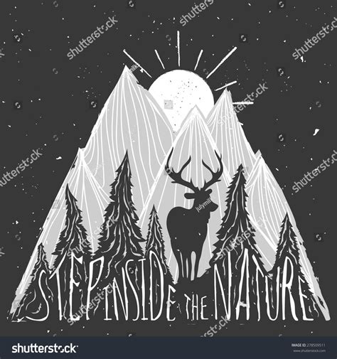 typography nature vintage vector lettering illustration stock vector 278509511