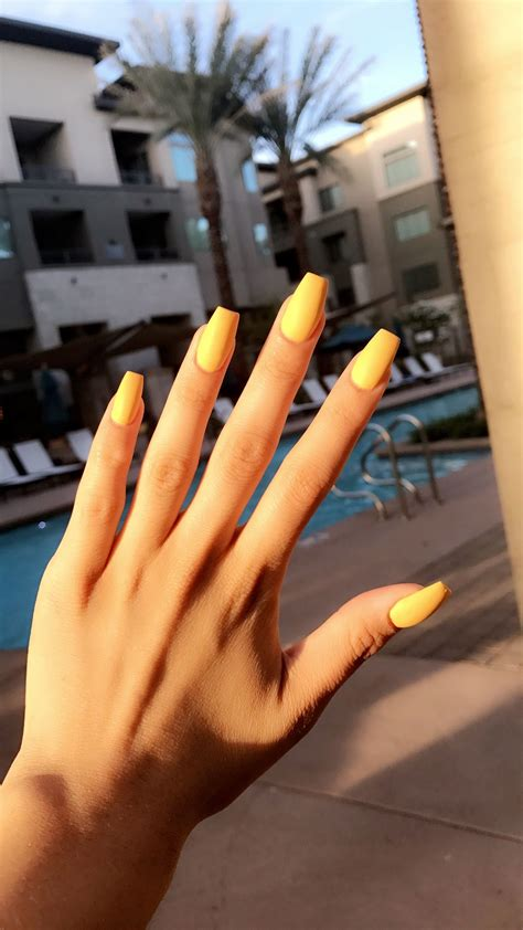 nails designs yellow acrylic and white yellow mattte coffin acrylics nail trends pinterest