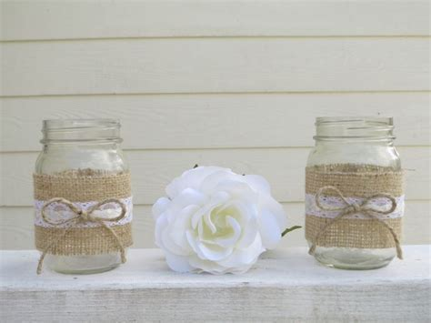 4 Burlap and Lace Mason Jar Wedding Centerpieces or