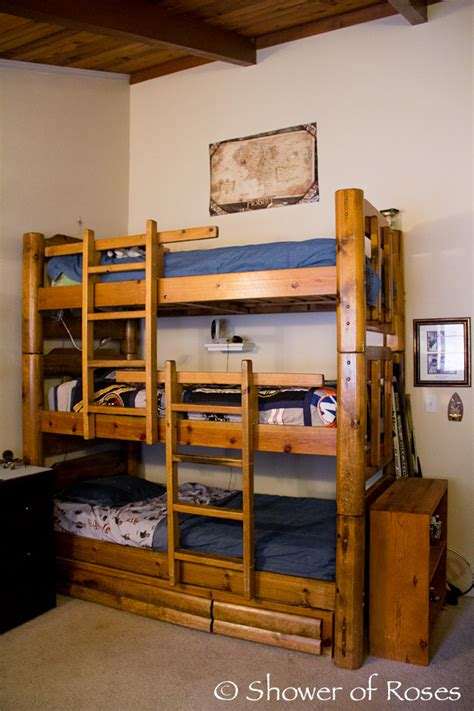 bunk beds boys shower of roses the boys bedroom and triple bunk bed