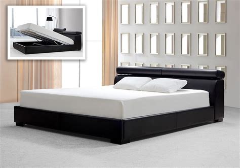 black storage bed logan black leatherette platform bed w storage