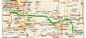 Ohio Turnpike Map by Blair Strip Steel Company Directions From Cleveland