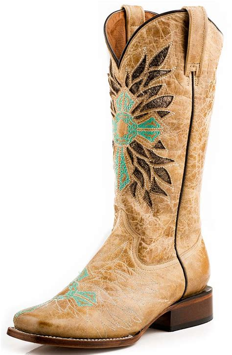 cheap womans cowboy boots roper womens turquoise cross square toe cowboy boots 219